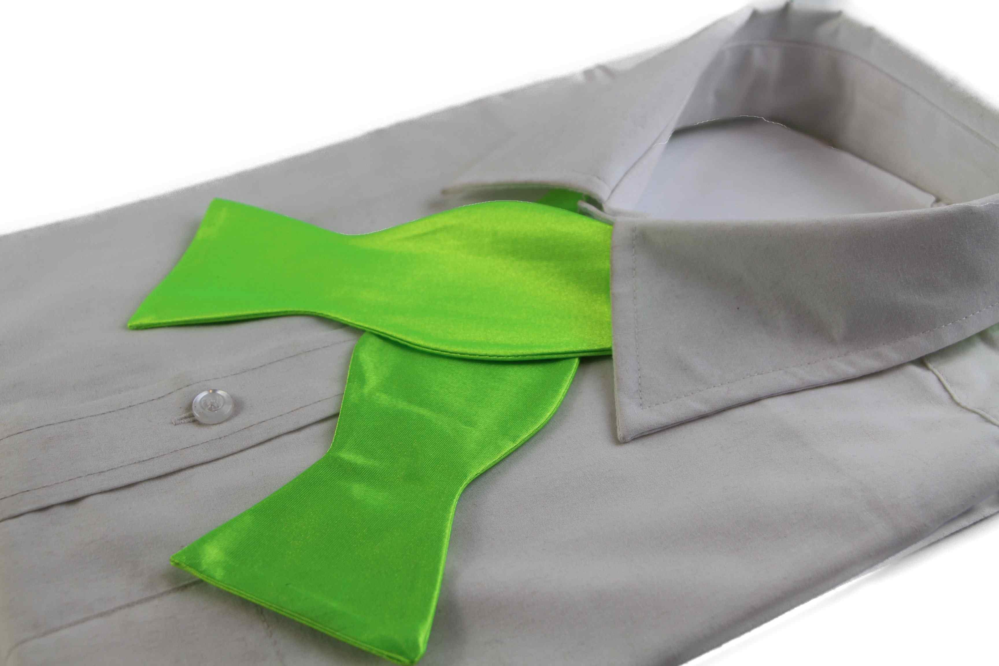 Mens Fluro Green Self Tie Bow Tie