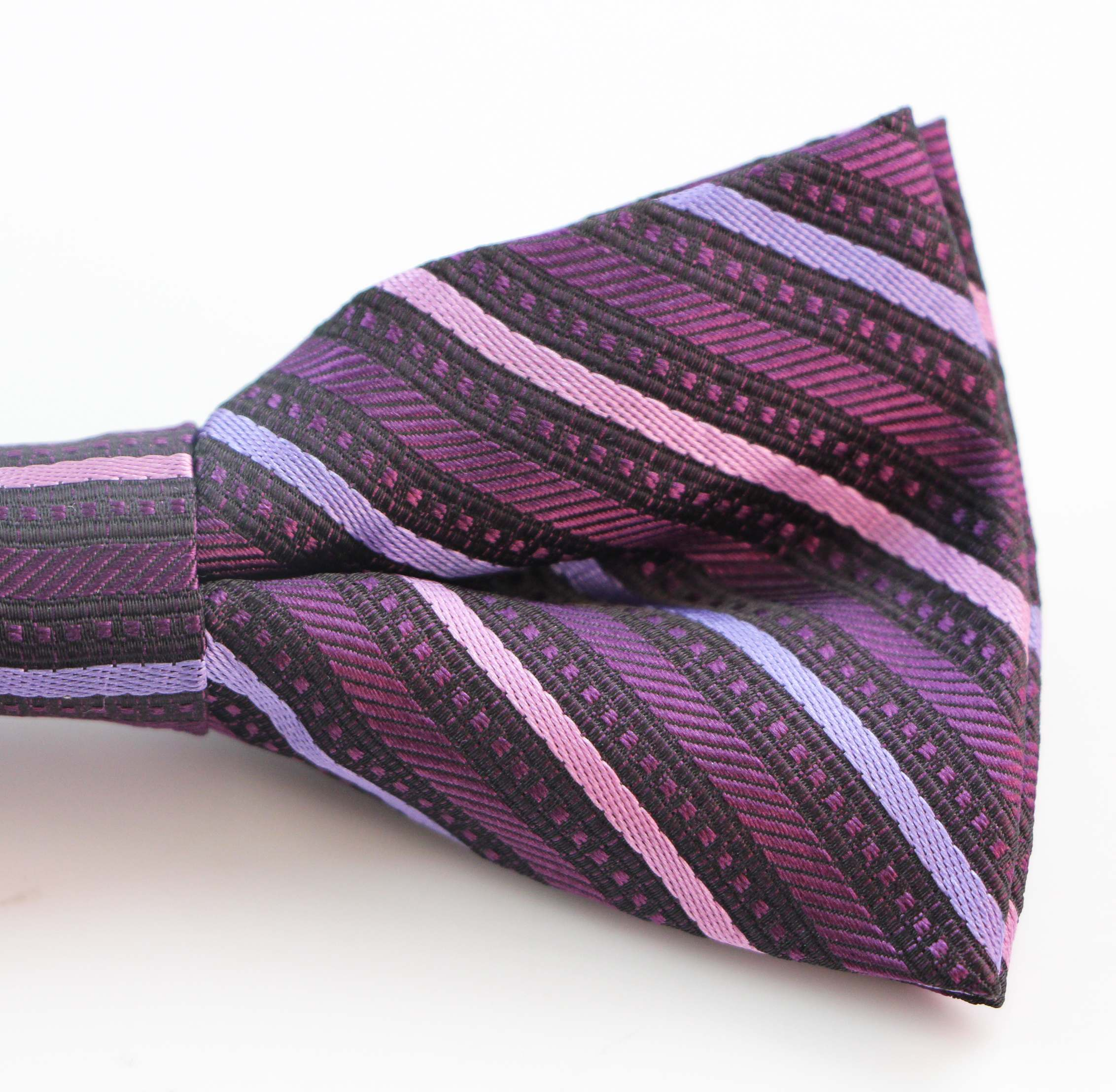 Mens Pink Striped Patterned Bow Tie