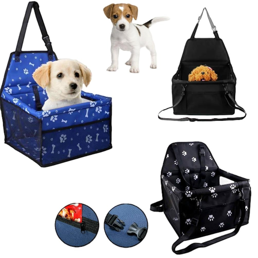 PET CAR BOOSTER - Seat Carrier Clip In Safety Box Foldable Black Blue Cat Dog