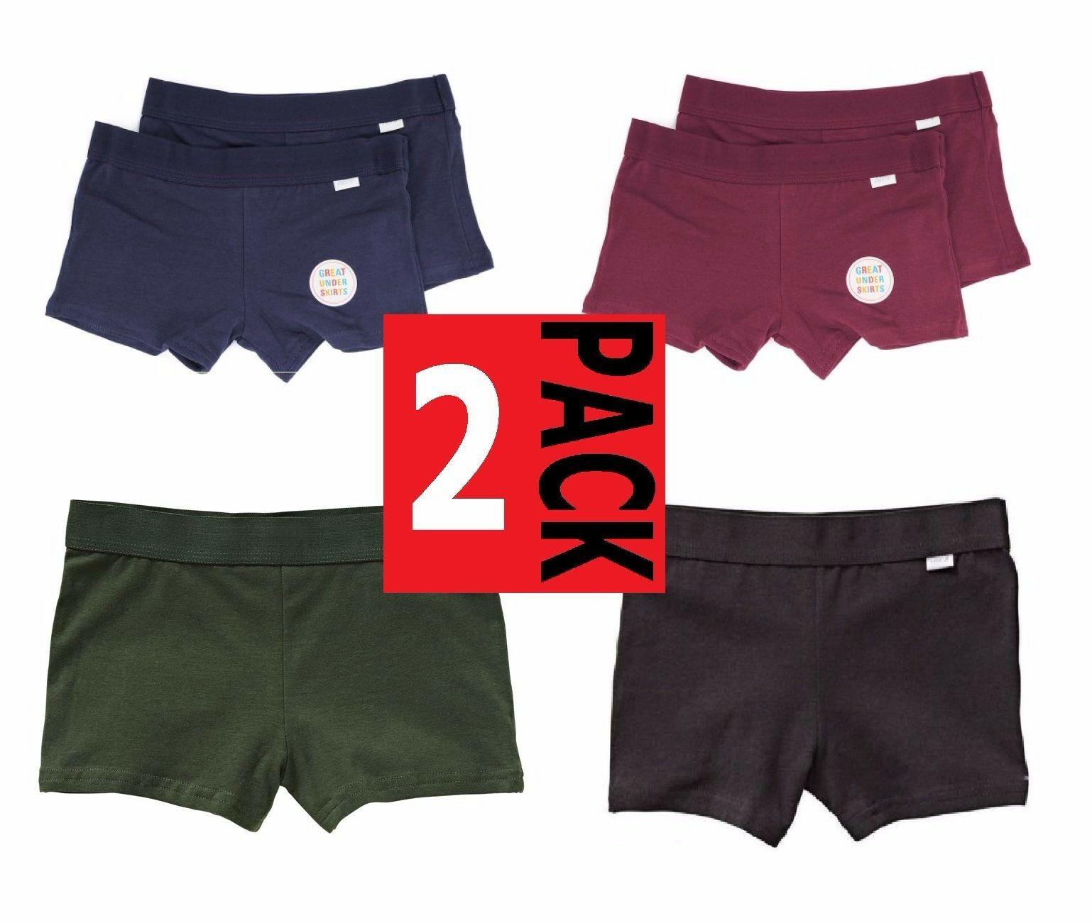 Rio 2 Pack Girls Netball Knickers Shorts Underwear School Black Navy Size 4 -16