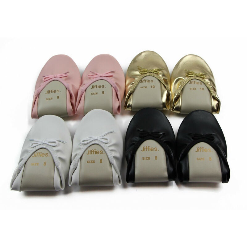 WOMENS JIFFIES Grosby Ladies Ballet Dance Flat Flats Shoes Black Pink Gold White