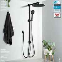"""WELS Black 8/10/12"""" 2in1 Round Shower Combo Adjustable Silde Wall Rail Mixer Tap"""
