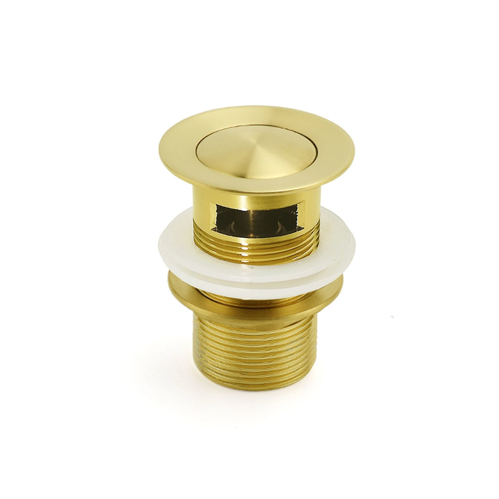 Brushed Gold 32mm Pop Up Push Waste Plug With Overflow Basin Sink Drain Outlet