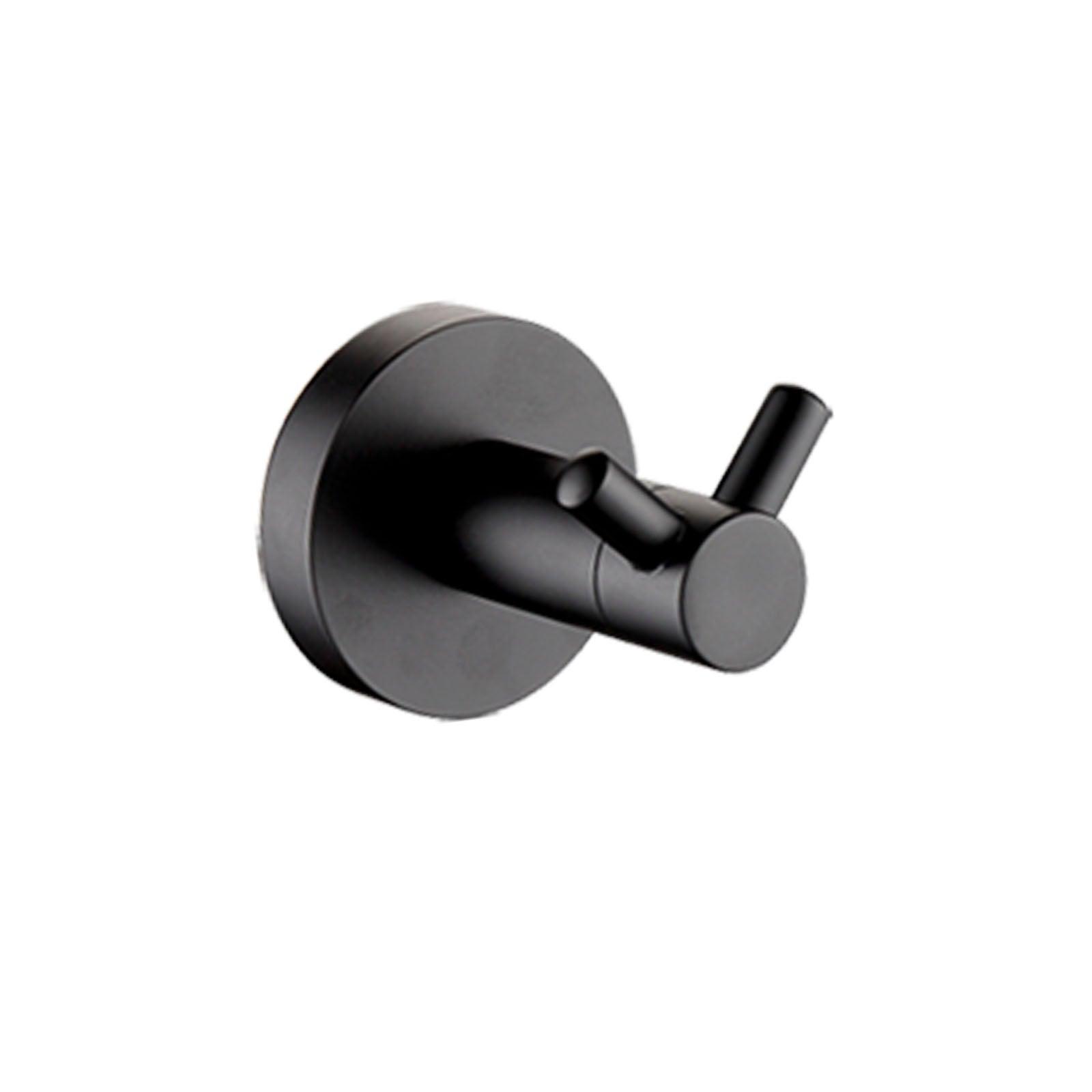 MATT BLACK Round Robe Hook Hanger Organizer Bathroom Stainless Steel Wall Mount