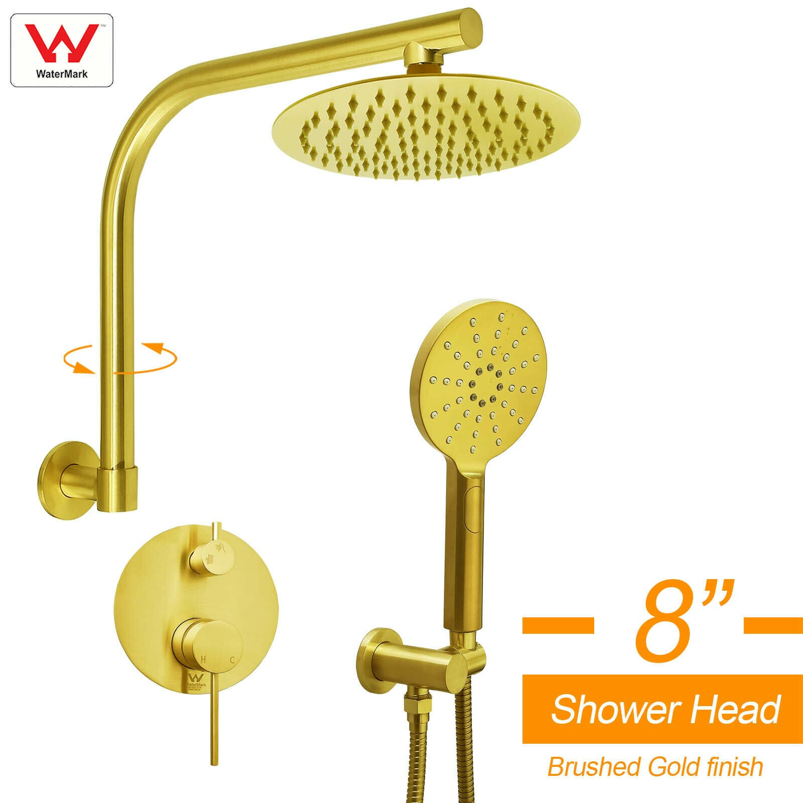 "WELS Brushed Gold 8"" Round Rainfall Shower Head 360?? Swivel Gooseneck Arm Combo"