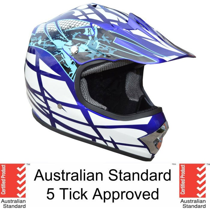Kids Blue Motocross Helmet with Goggles