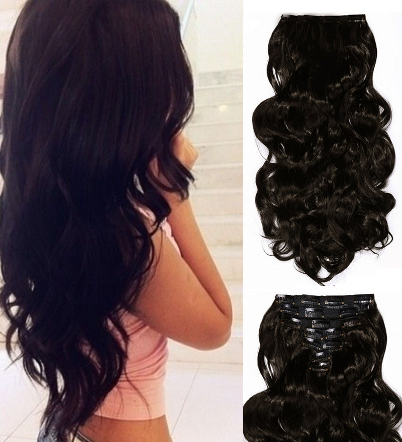 """24"""" Wavy Curlydeluxe Synthetic Hair Extension Black Brown 7Piece 16Clips 03"""