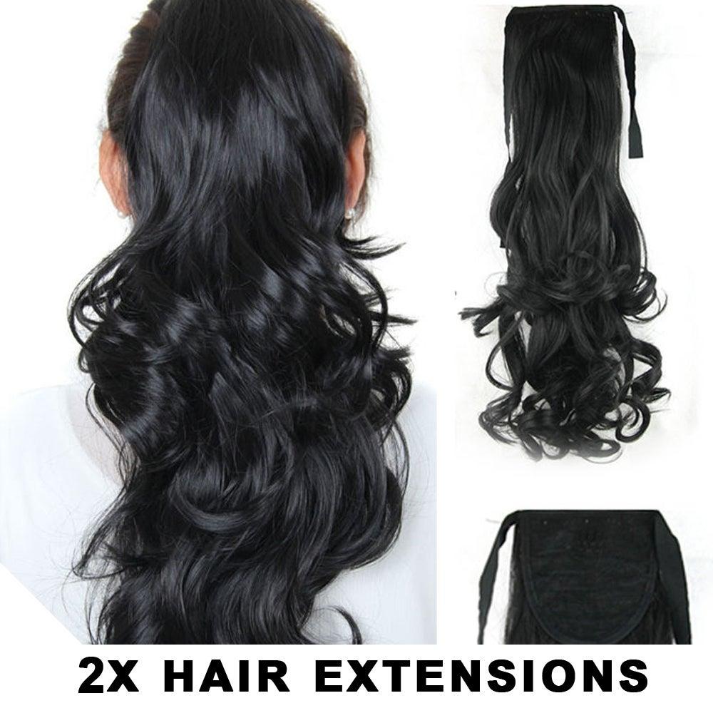 "2Pcs High Grade Hair Ponytail Black 22"" Ribbon Curl Pony Wavy Hair Extension 2X"