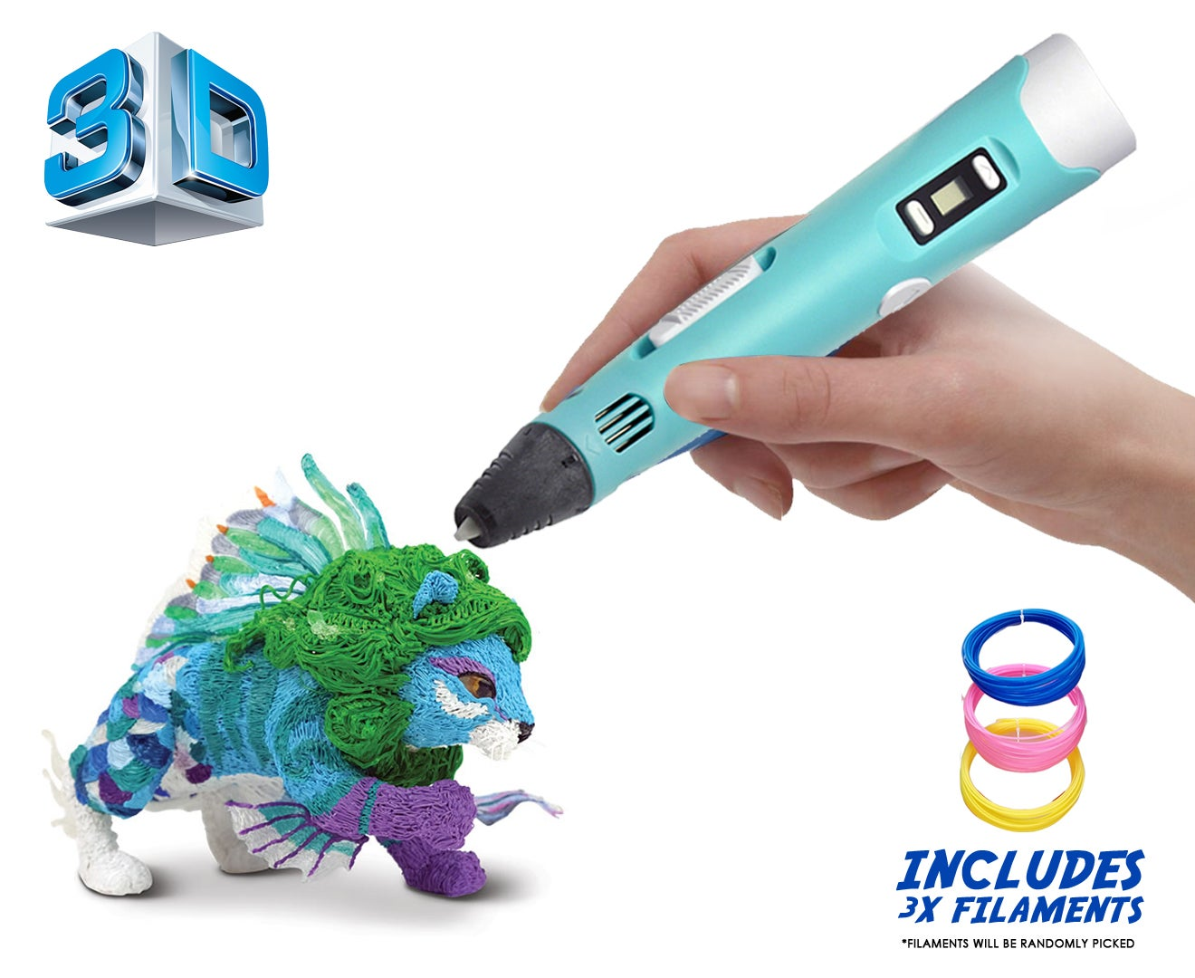 3D Stereoscopic Printing Pen With Lcd Screen Version - Pla Abs Filament