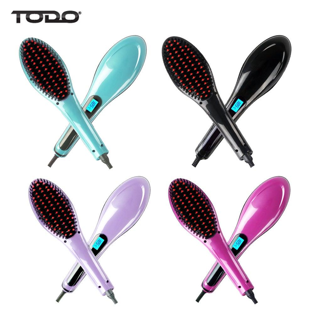Digital Hair Straightener Brush Electric TODO Straightening Anti Frizz Comb