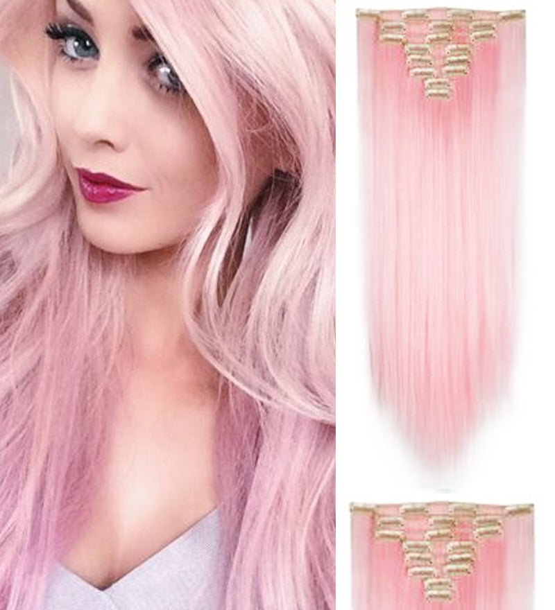 """Pink Thick High Grade Straight Hair 7Piece 16Clips 20"""" Hair Extension 07Pink"""