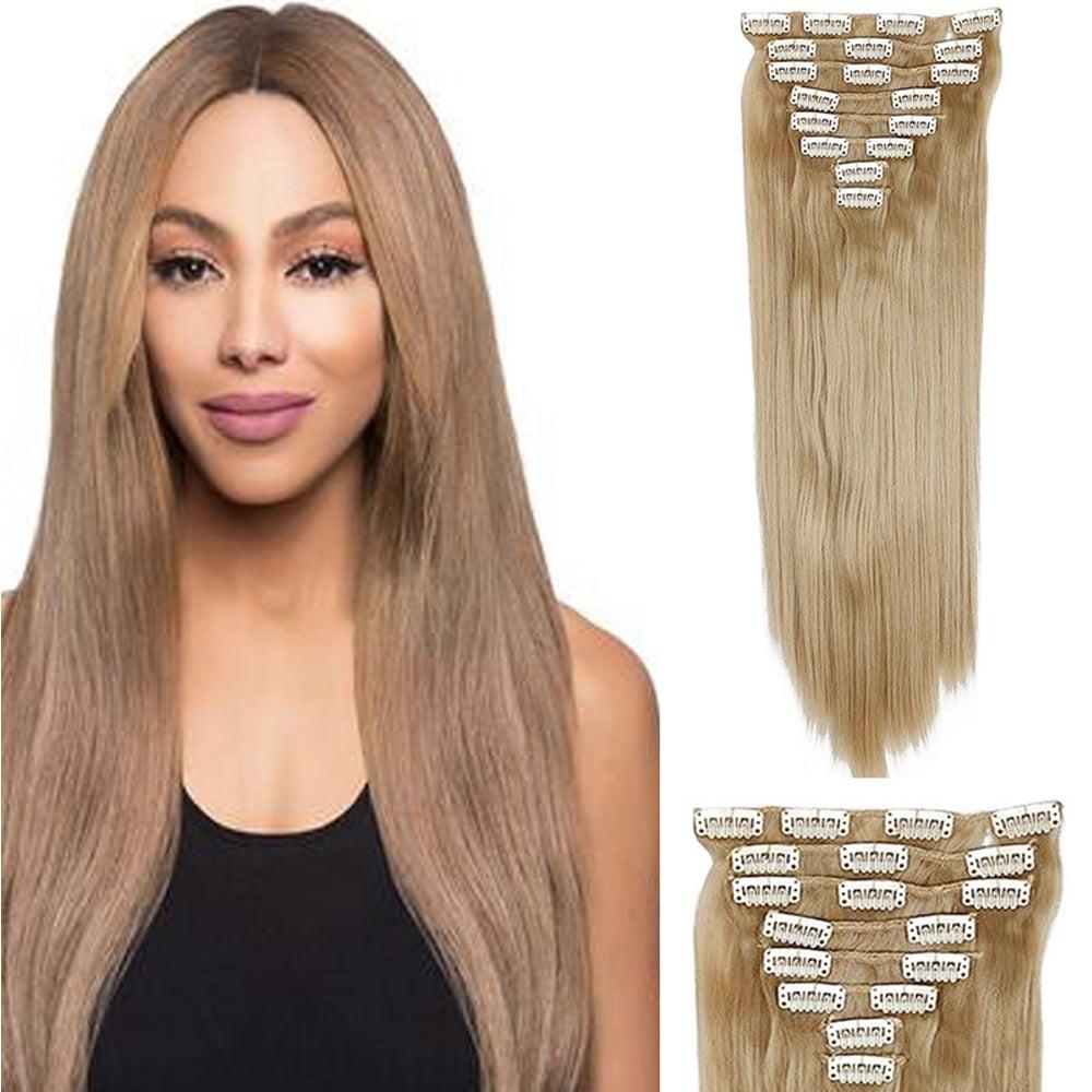 "Single Colour High Grade Dark Blonde Synthetic Hair 7Piece 16Clips 22"" Straight"