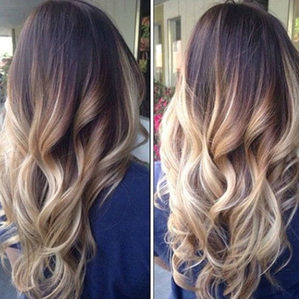 """Two Tone Ombre High Grade Brown Curly Hair 7Piece 16Clips 24"""" Hair Extension 04"""