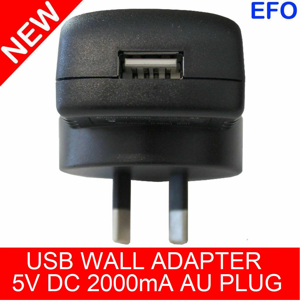 Usb Wall Charger Adapter 5V Dc 2000Ma Australian Plug Au Approved Adaptor
