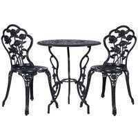 3 Piece Outdoor Setting Chairs Table Bistro Set Cast Aluminum Patio