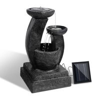 Solar Power Water Fountain Feature Outdoor Cascading /W LED Light