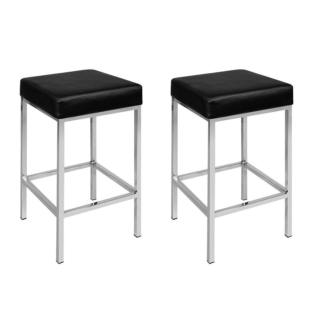 Artiss 2x PU Leather Bar stool Modern Kitchen Chair Black 9076 Viera Series 4 Legs