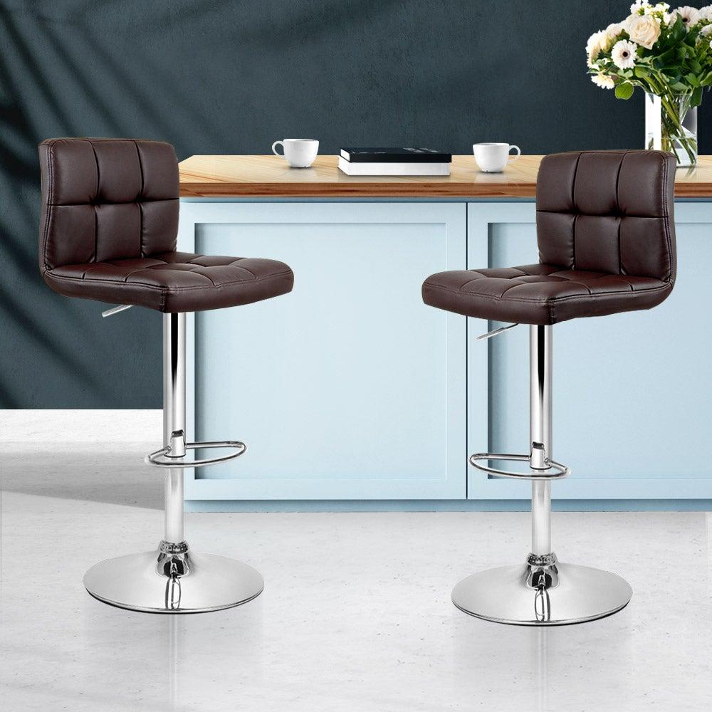 Artiss 2x Leather Bar Stools NOEL Kitchen Chairs Swivel Bar Stool Gas Lift Brown