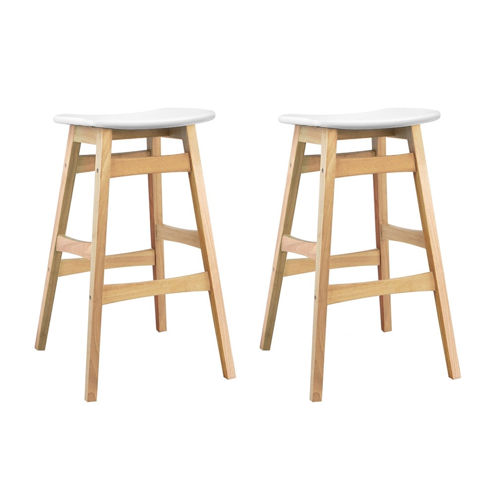 Artiss 2x Rubber Wood Bar Stools Wooden Bar Stool Dining Chairs Kitchen White