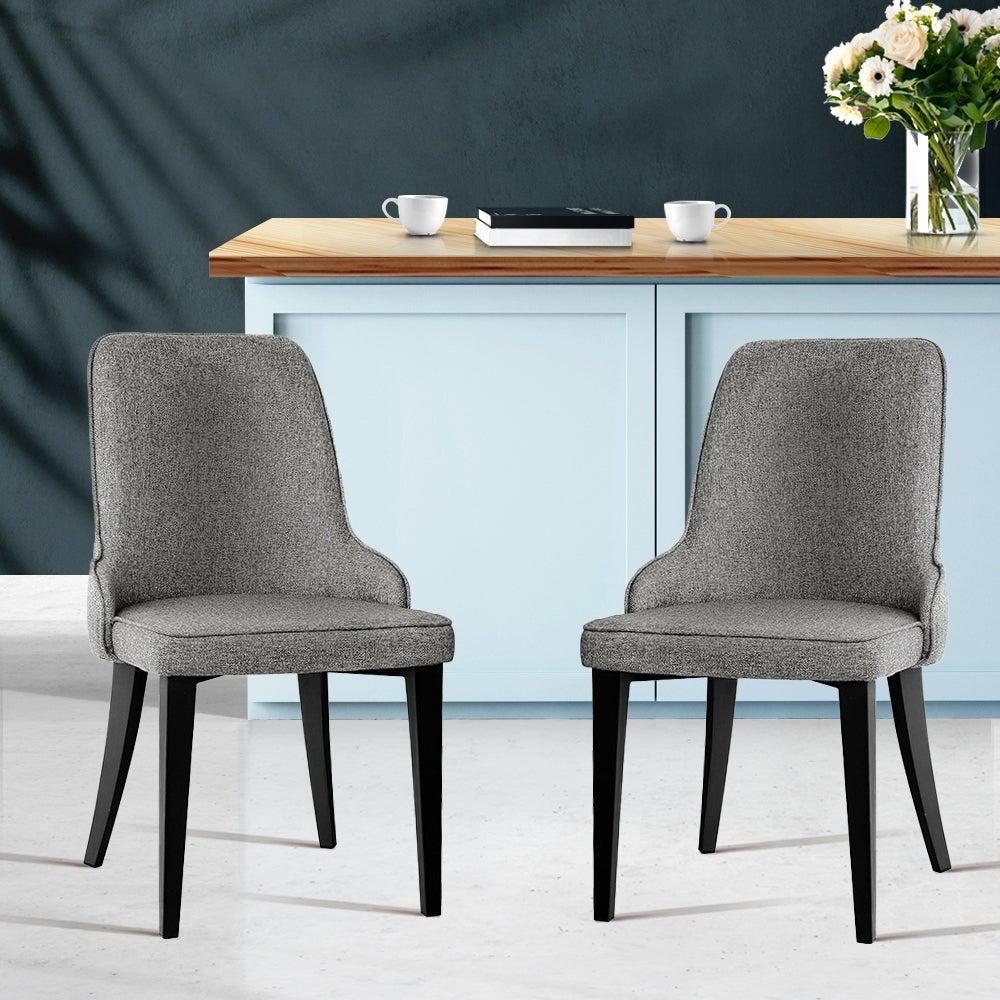 Artiss 2x Dining Chairs Domus Linen Fabric Chair Retro Vintage Steel Legs Grey