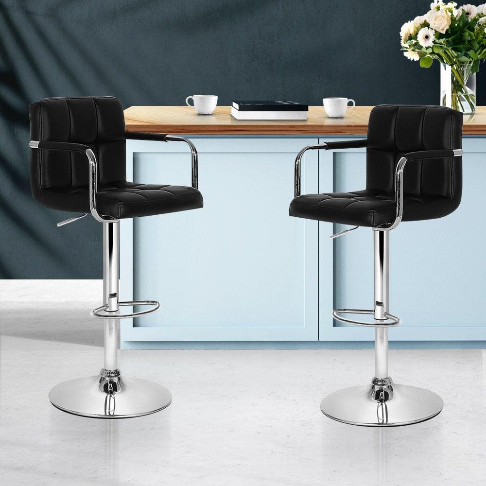 Artiss 2x Bar Stools Kitchen Swivel Bar Stool Leather Gas Lift Chairs Black