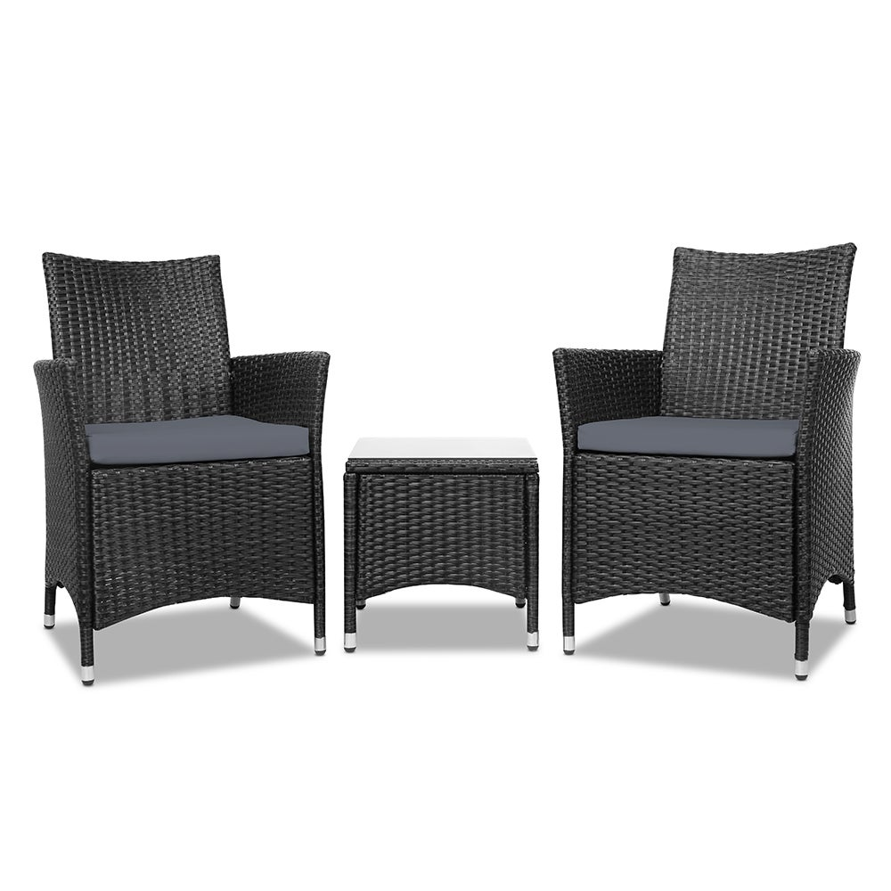Patio Furniture 3 Piece Outdoor Setting Bistro Set Chair Table Wicker