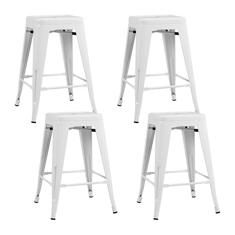 Artiss 4x Replica Tolix Bar Stools Metal Bar Stool Kitchen Cafe Chair 61cm White