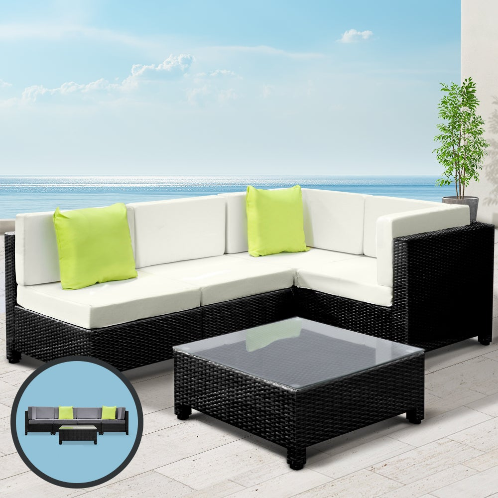 5pc Sofa Bed Outdoor Furniture Wicker Couch Rattan Table Patio Garden Lounge Setting Black Gardeon w/ Cushions Pillows Storage Cover