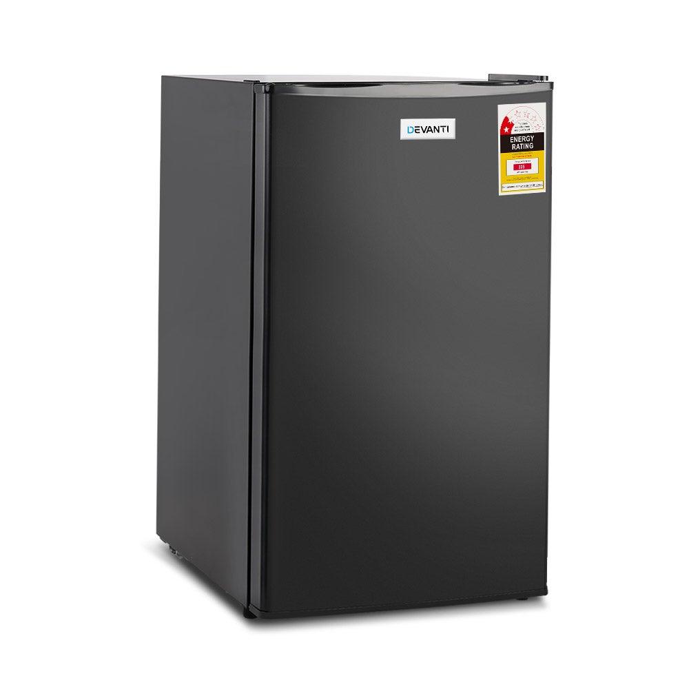 Devanti Mini Bar Fridge Portable Office Refrigerator Cooler Freezer Black 95L