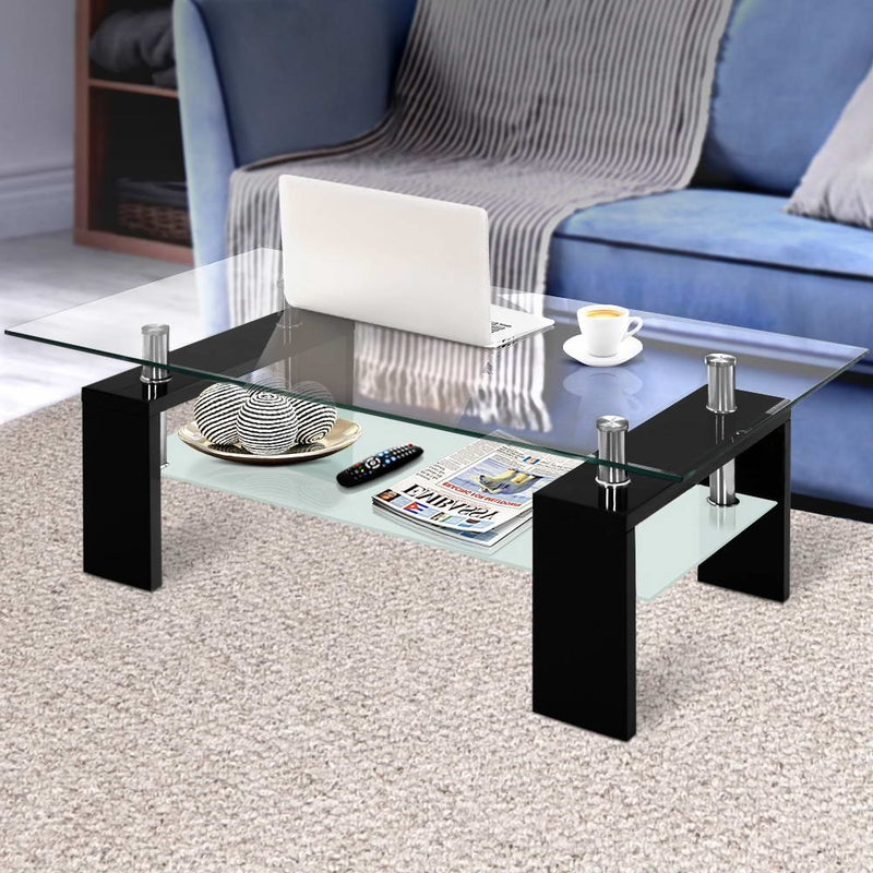 Artiss Coffee Table 2 Tier Tempered Glass Stainless Steel Storage Shelf Modern Buy Coffee Tables 9350062162750