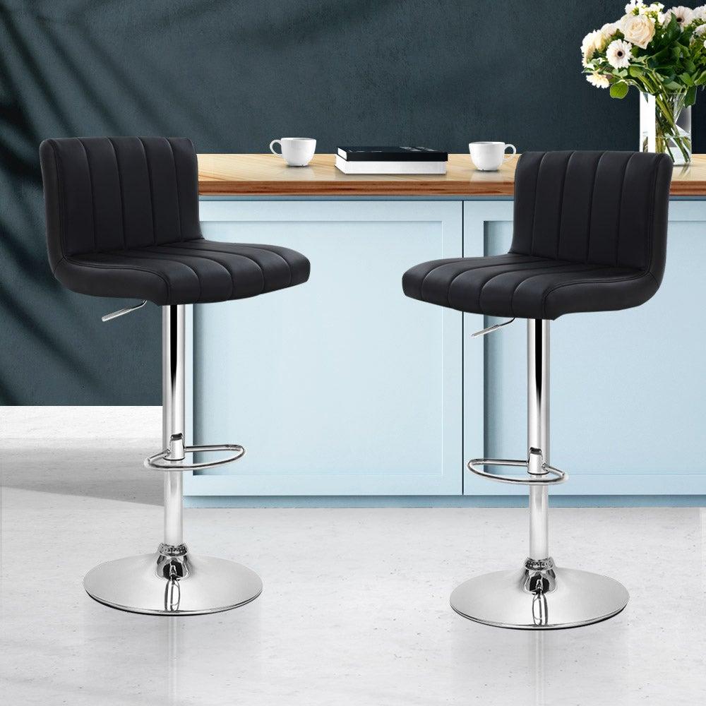 Artiss 2x Leather Bar Stools Kitchen Chairs Bar Stool Black Gas Lift Swivel