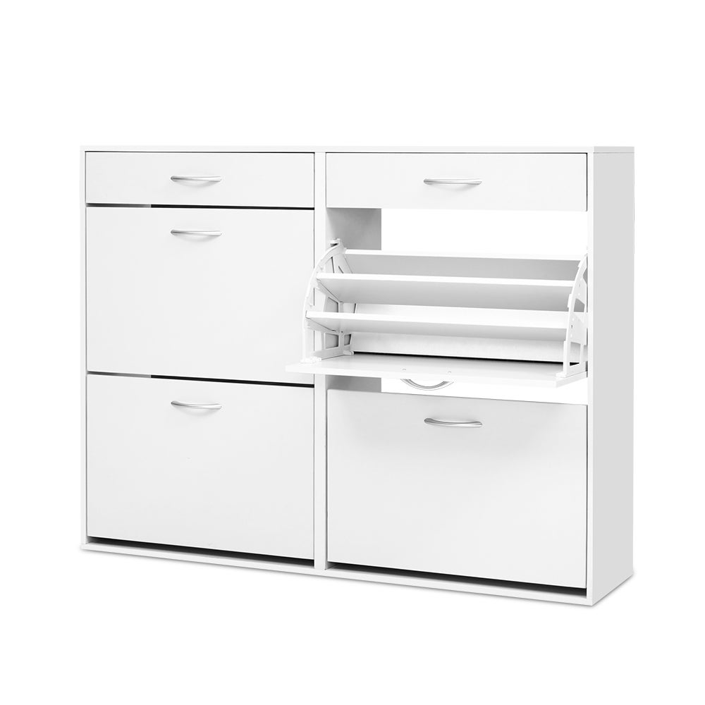 Artiss Shoe Cabinet Shoes Storage Rack Organiser White Shelf Drawer 36 Pairs