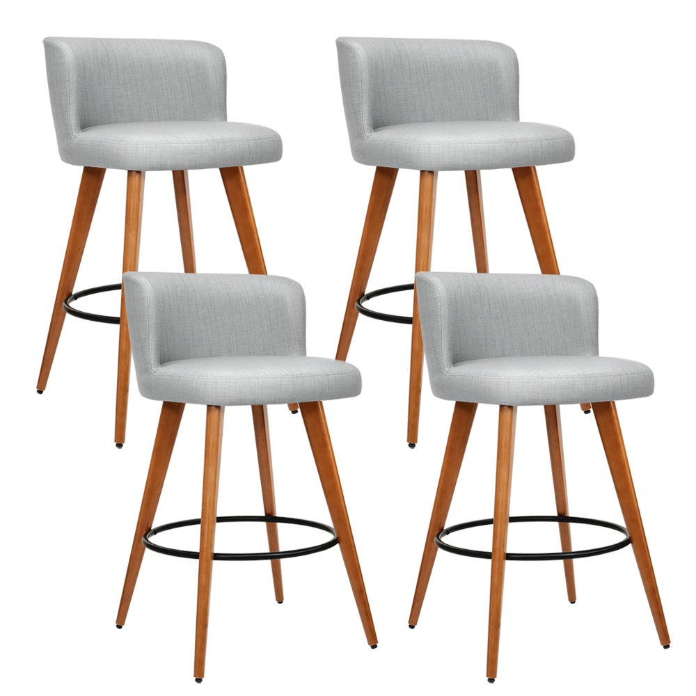 Artiss 4x Wooden Bar Stools Modern Bar Stool Kitchen Dining Chairs Cafe Grey