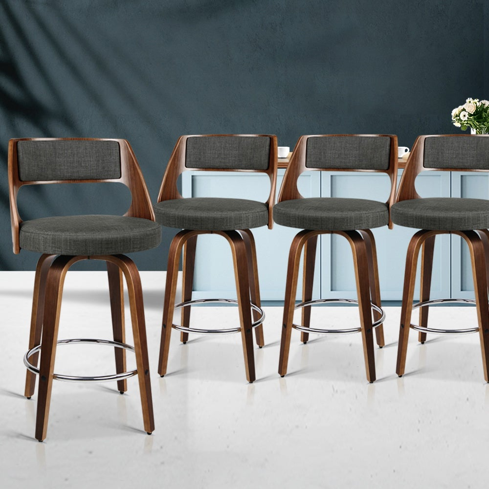 Artiss 4x Wooden Bar Stools Swivel Bar Stool Kitchen Chairs Charcoal Fabric