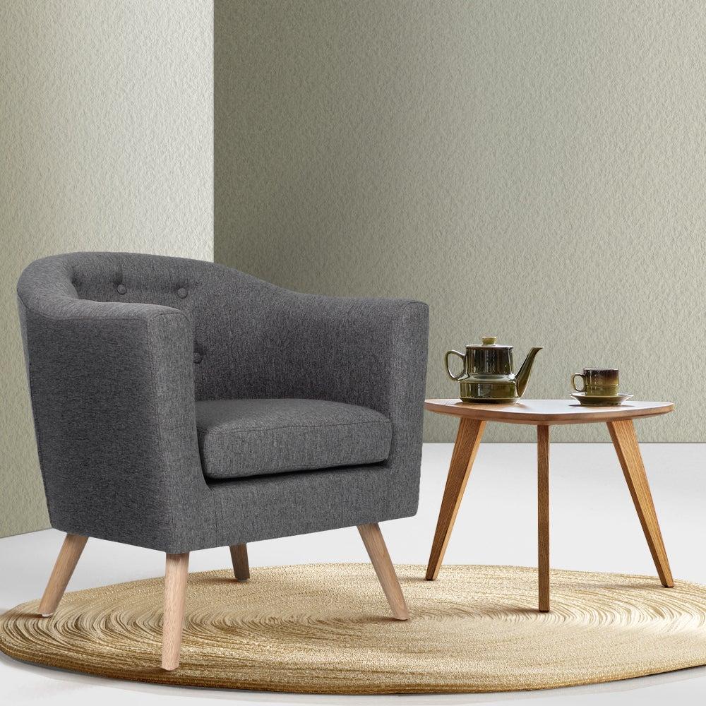 Artiss Adora Single Accent Armchair (Grey)