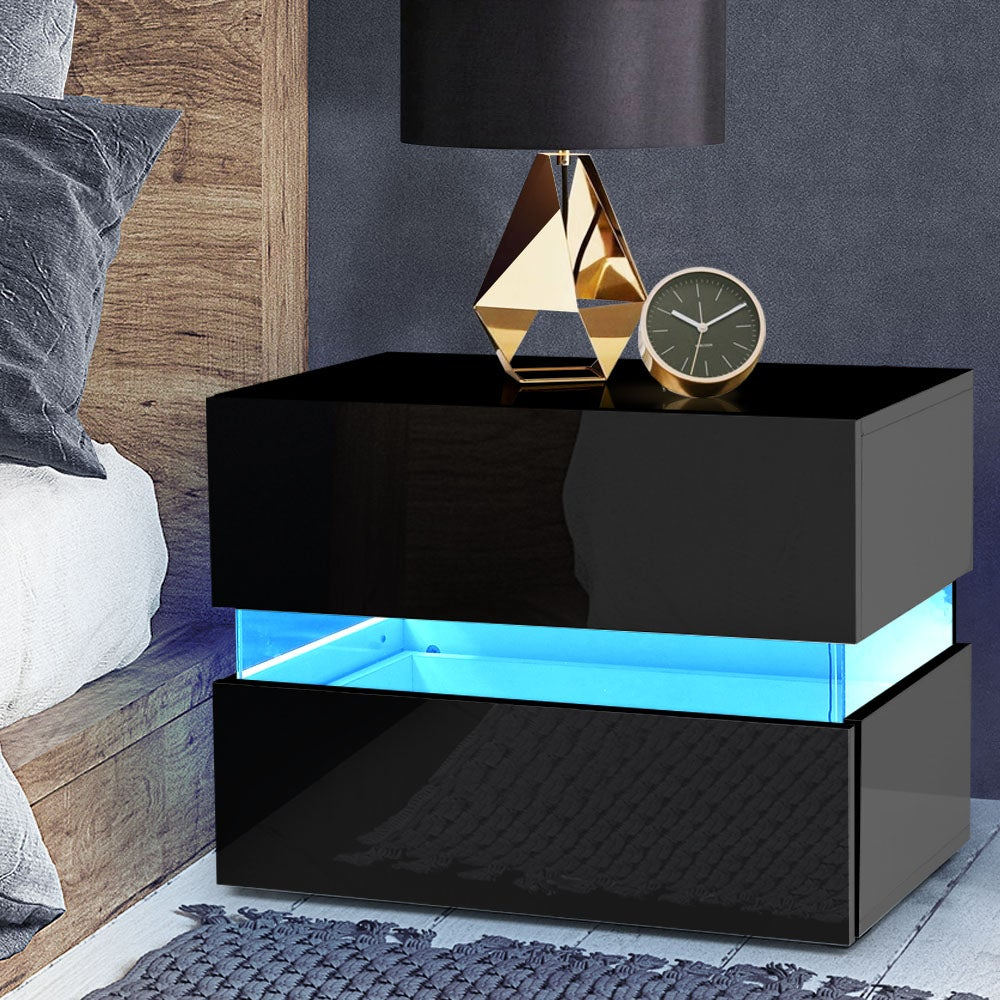 Bedside Tables Drawers RGB LED Side Table Black Gloss Nightstand