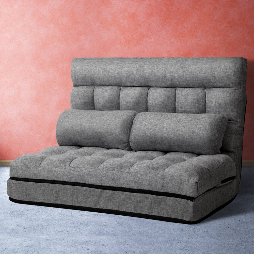 Floor Sofa Lounge 2 Seater Chair Futon Couch Bed Recliner Folding Fabric