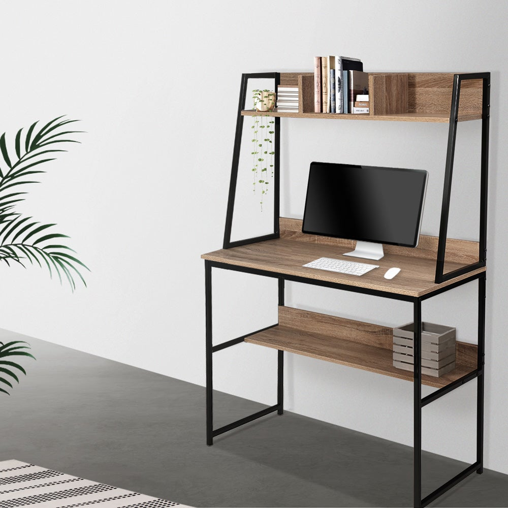Artiss Office Computer Desk Workstation With Hutch Oak