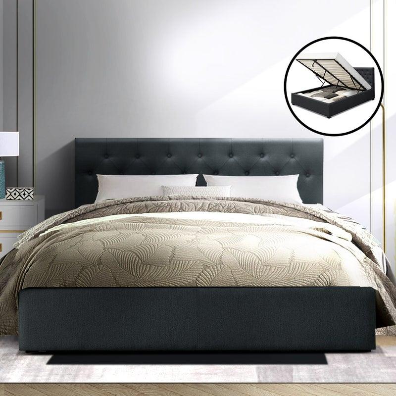 Artiss Queen Size Gas Lift Bed Frame, Artiss Queen Bed Head Charcoal