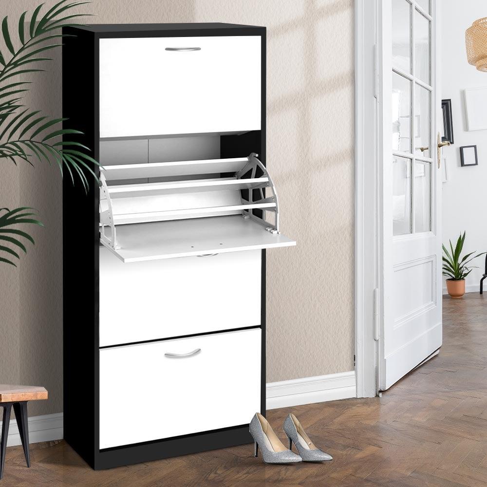 Artiss Shoe Cabinet Shoes Organiser Storage Rack 60 Pairs Cupboard Shelf Drawers