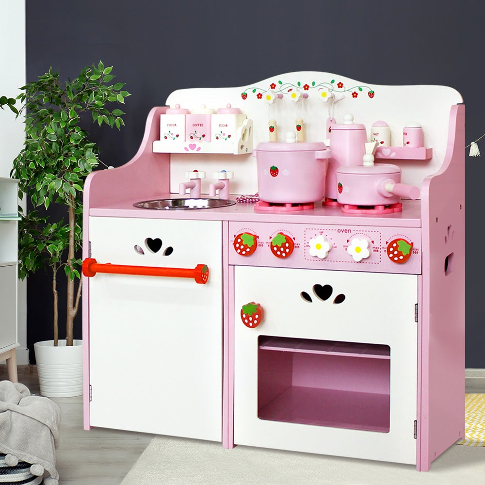 Keezi Kids Kitchen Play Set Pretend Wooden Toys Cooking Toy Childrens Cookware