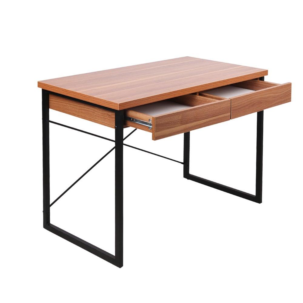 Artiss Office Computer Desk Study Student Walnut Metal Table Drawer Cabinet