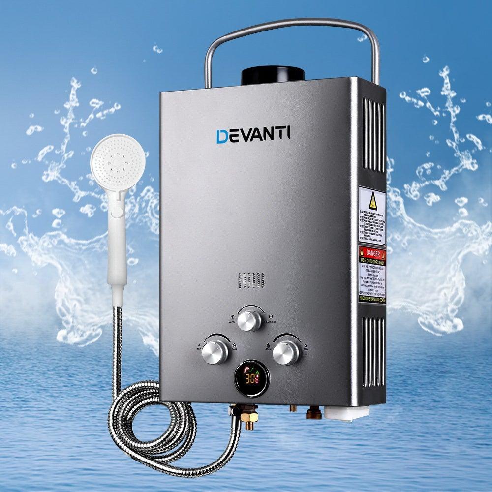 Devanti Outdoor Gas Hot Water Heater Portable Shower Camping LPG Caravan Pump