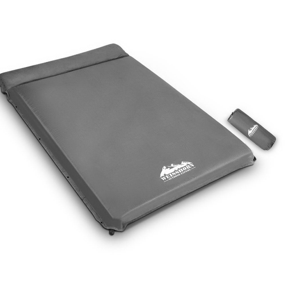 Weisshorn Double Size Self Inflating Mattress 10CM Thick Camping Mat - Grey