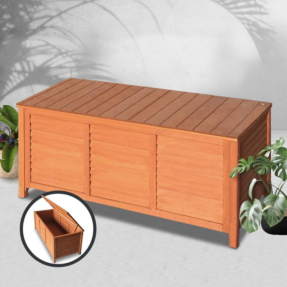 Outdoor Storage Bench Garden Chair Wooden Box Seat Chest Furniture