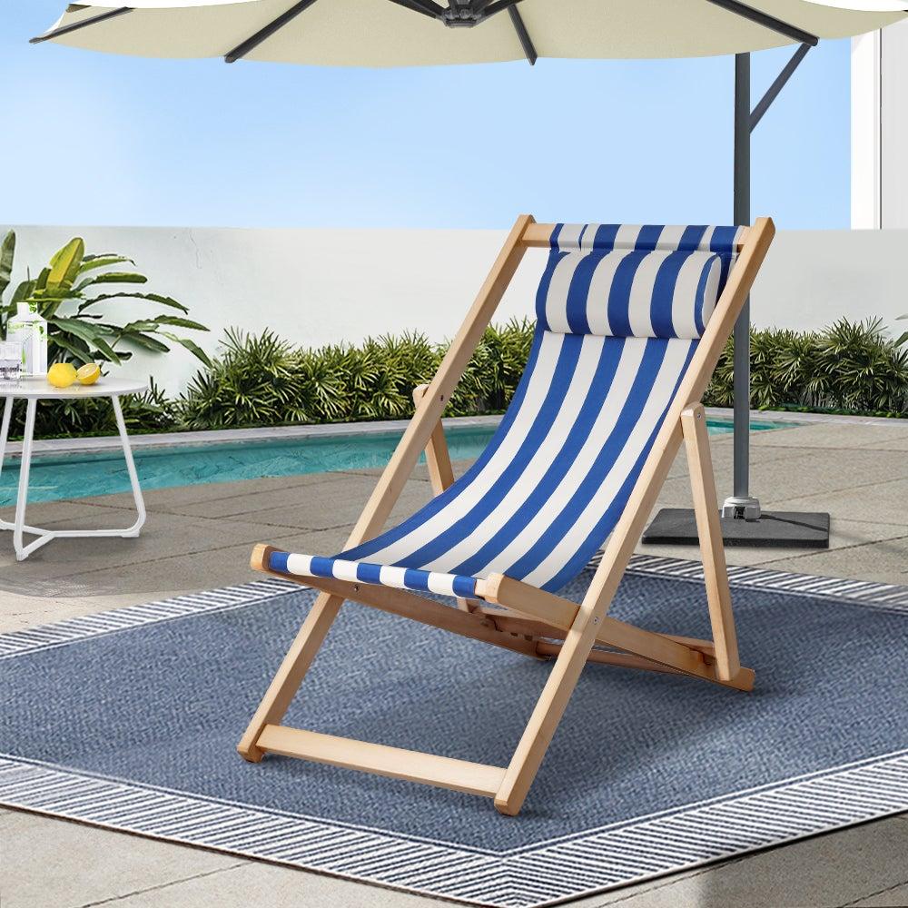 Gardeon Wooden Beach Chair Folding Outdoor Chairs Blue