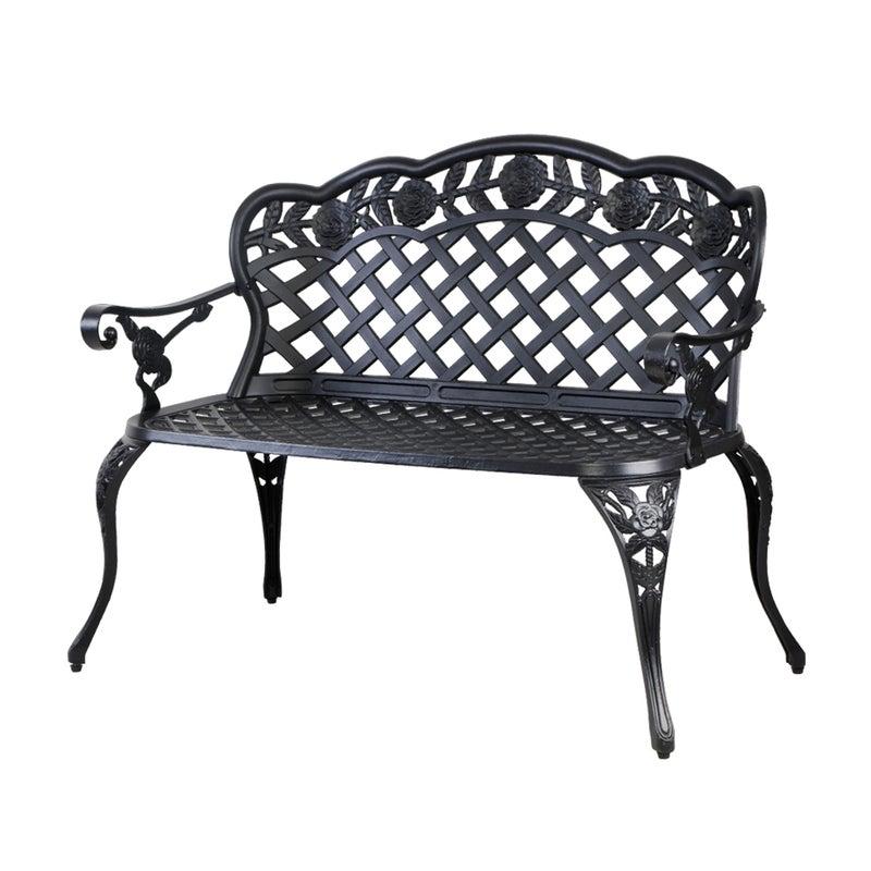Lounge Cast Aluminium Outdoor Furniture, 3 Seater Cast Aluminium Garden Bench