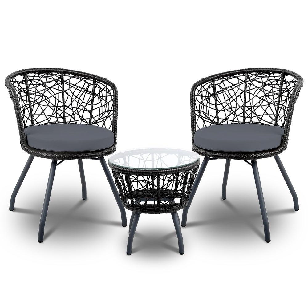 Outdoor Furniture Rattan Bistro Set Chair Patio Garden Wicker Cushion 3pc