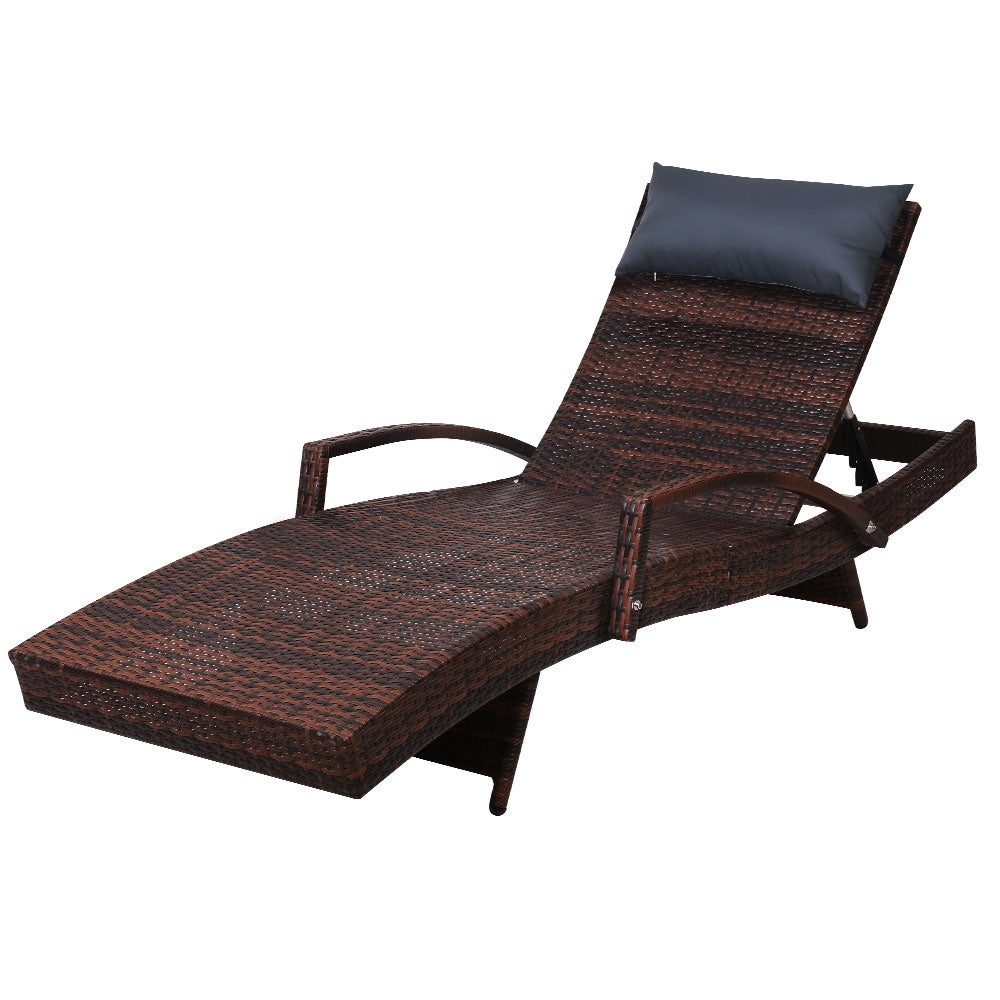Outdoor Sun Lounge Furniture Setting Rattan Wicker Day Bed Lounger Patio