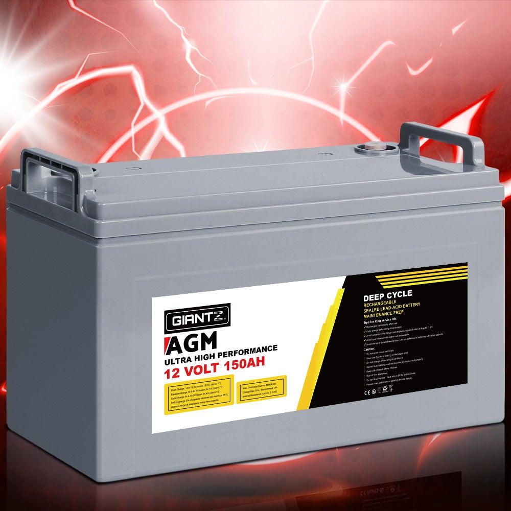 Giantz 150AH AGM 12V Deep Cycle Battery Marine Sealed Power Portable